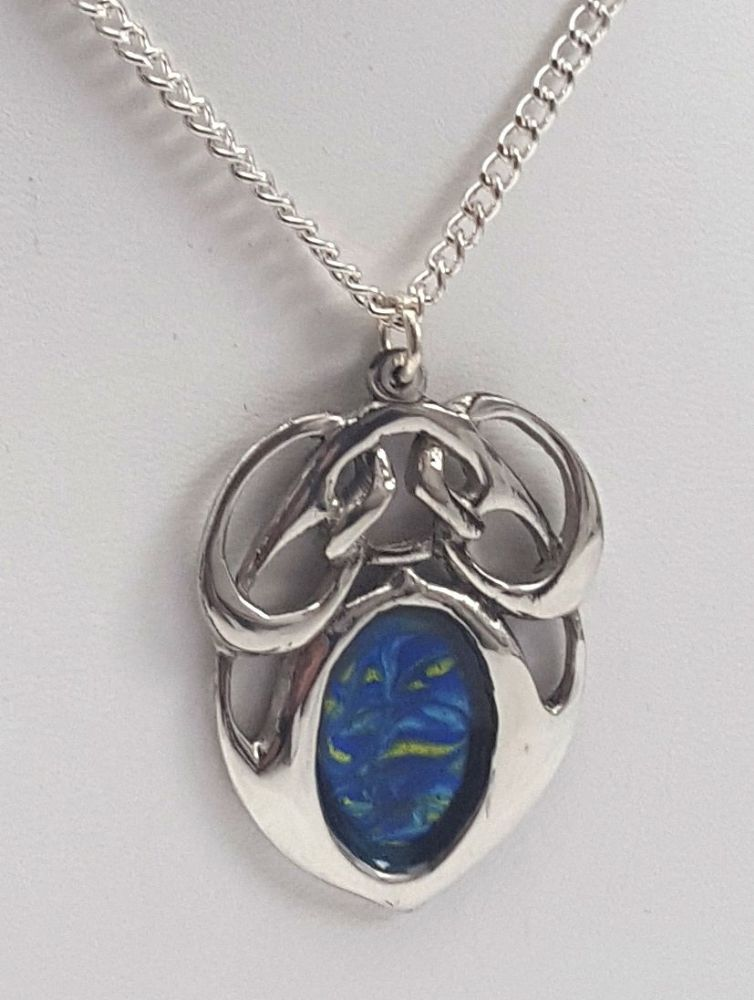 Ladies Archibold Knox Pendant Chain Blue Enamel Made in England